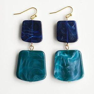 """Jewelry - NEW """"Temple"""" Acrylic Square Earrings (blue)"""
